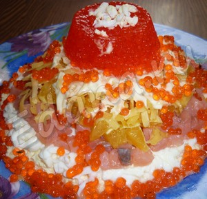 салат жемчужина с семгой и апельсином