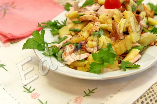 рецепт грибного салата с лисичками