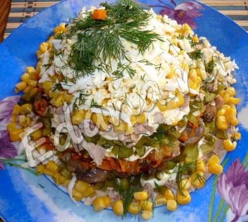 рецепт куриного салата с грибами