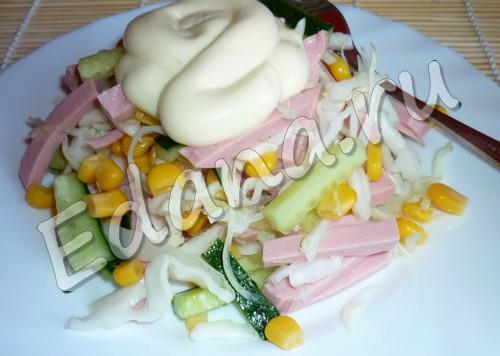 рецепт салата с капустой и кукурузой