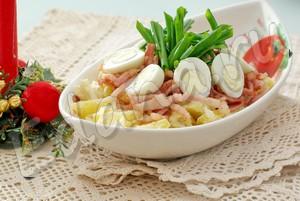 Рецепт теплого салата с картофелем и мясом