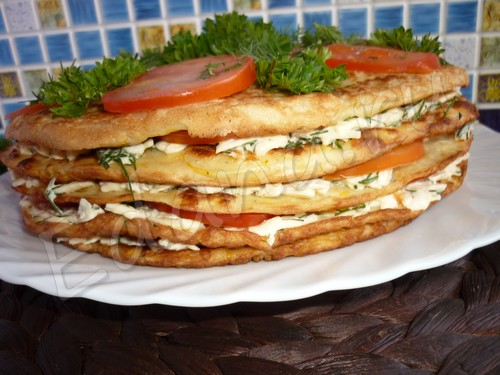 Торт из кабачковых блинчиков с сырной пропиткой