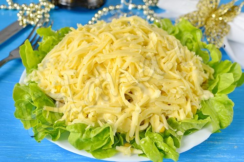 Салат с курицей и кукурузой на салатных листьях