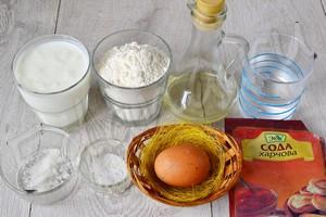 Ингредиенты для заварных блинов на кефире