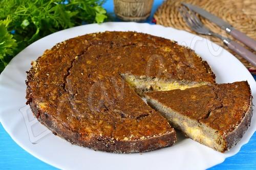 Пирог из печени с рисом и твердым сыром