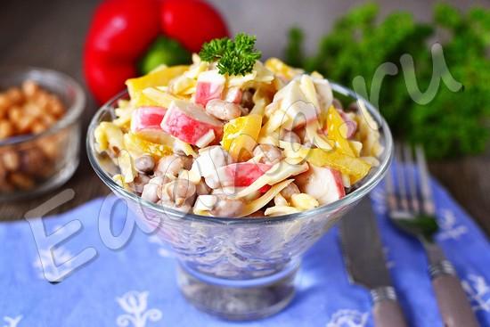 Салат с крабовыми палочками и консервированной фасолью - пошаговые рецепты