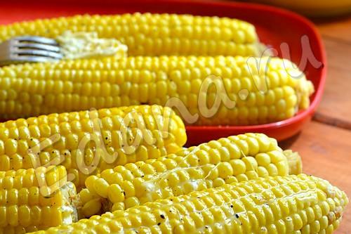Сваренная кукуруза в початках, обмазанная сливочным маслом