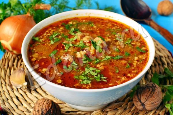 Острый суп харчо в мультиварке с ткемали и говядиной