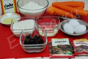 Ингредиенты для морковного бисквита