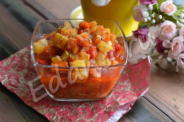 Овощное рагу с кабачками в мультиварке на зиму