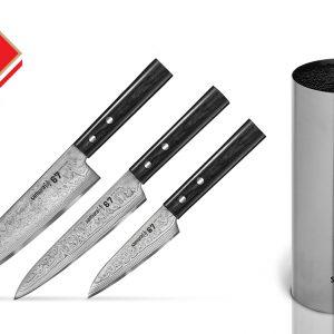 3 кухонных ножа Samura 67 Damascus и металлическая браш-подставка