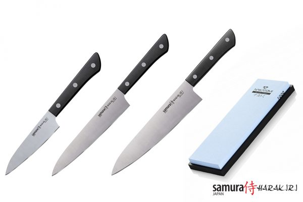 3 ножа Samura HARAKIRI и точильный камень Samura SWS-1000