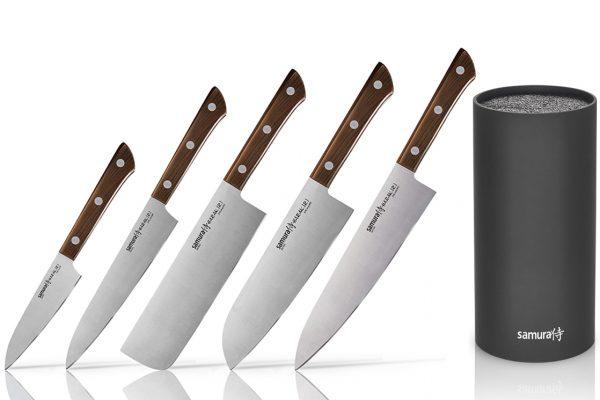 5 ножей Samura HARAKIRI Wood и браш-подставка (упакованы отдельно)