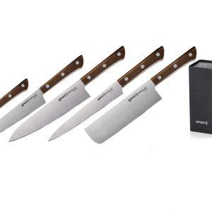 5 ножей Samura HARAKIRI Wood и квадратная браш-подставка (упакованы отдельно)