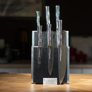 Комплект №2 из 6 ножей Samura BAMBOO и черной подставки