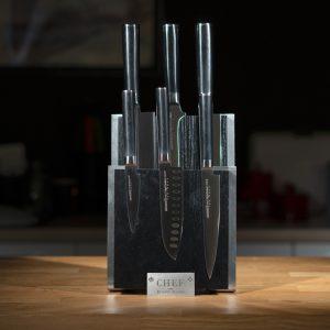 Комплект №2 из 6 ножей Samura Mo-V и черной подставки
