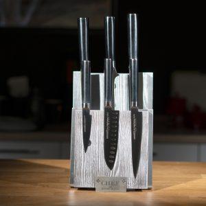 Комплект №2 из 6 ножей Samura Mo-V и серой подставки