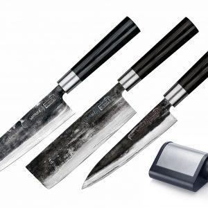 Комплект из 3 кухонных ножей Samura SUPER 5 и точилки (упакованы отдельно)