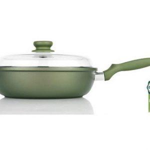 Литая глубокая сковорода со стеклянной крышкой Risoli Dr Green 28см 00105DR/28GS