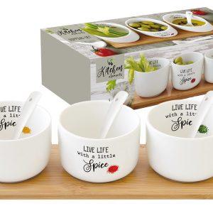 Набор д/закуски: 3 салатника 8см с 3 ложками на подносе Kitchen Elements в подарочной упаковке Easy Life AL-56578