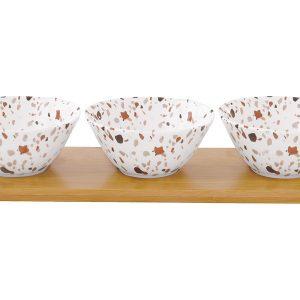 Набор д/закуски: 3 салатника на подносе Терраццо в подарочной упаковке Easy Life AL-57388