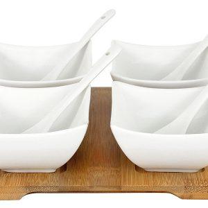 Набор д/закуски: 4 салатника с 4 ложками на подносе в подарочной упаковке Maxwell & Williams 56774