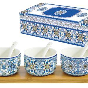 Набор для закуски: 3 салатника с 3 ложками на подносе Майолика (голубая) в подарочной упак. Easy Life AL-54681