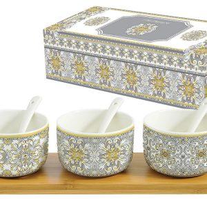 Набор для закуски: 3 салатника с 3 ложками на подносе Майолика (серая) в подарочной упак. Easy Life AL-54694