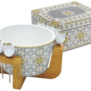 Набор для закуски: салатник для оливок + 8 шпажек на подставке Майолика (серая) в подарочной упак. Easy Life AL-54693