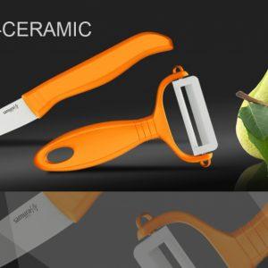 Набор керамический Фруктовый нож и овощечистка Samura Eco-Ceramic SKC-011OR