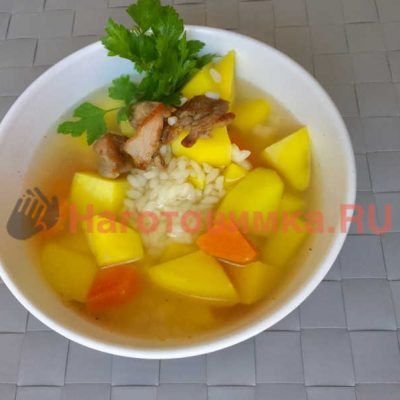 Суп рисовый на утином бульоне по домашнему рецепту